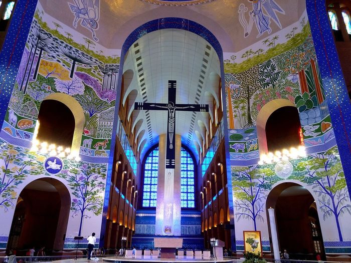 Religion Place Of Worship Spirituality Architecture Window Built Structure Low Angle View Indoors  Statue Travel Destinations No People Day