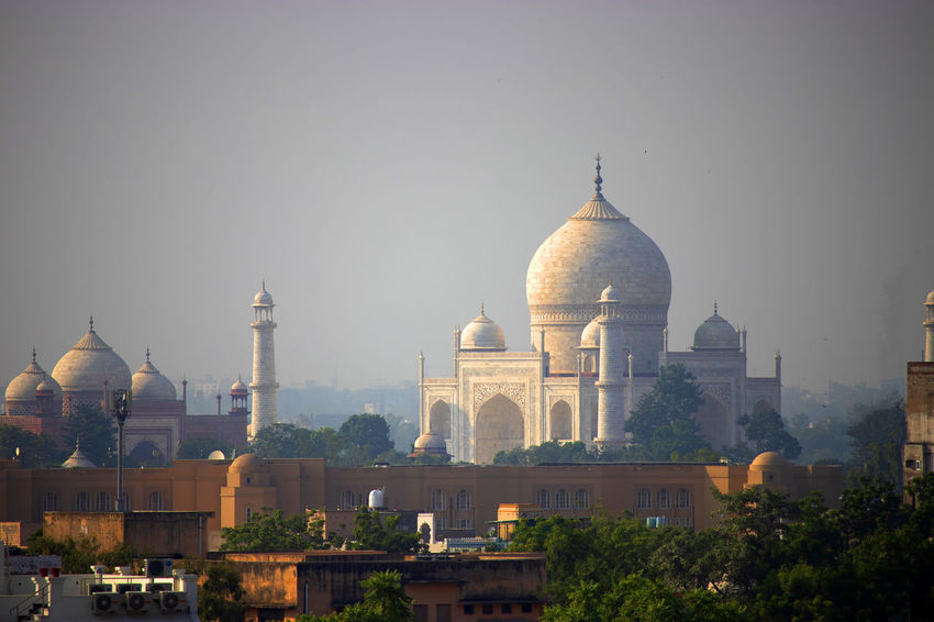 Close view of the taj mahal from across the city Taj Mahal, Agra Architecture Building Building Exterior City Dome History Religion Sky Tourism Travel Destinations