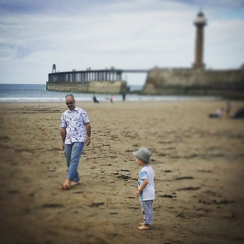 Beach football with my boy. Cute Child Toddler  Son Father Daddy Dad Beach Football Sand Seaside Pier Lighthouse Whitby Sea