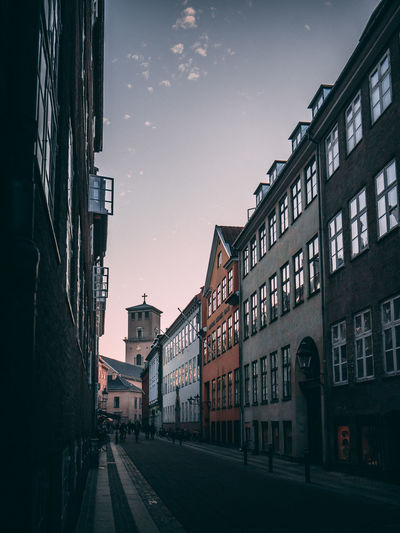 Cozy Copenhagen street with old buildings. Sunset and soft light. Street City Sky Architecture Building Old Old City Old City Building Old City Streets Streetphotography Colorful Buildings 1800s Building 1700's House Sunset Pink Color Copenhagen Beautiful Danish Denmark Downtown City City Center Old Town Cozy