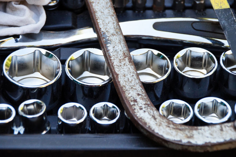 Close-up of metallic tools in workshop