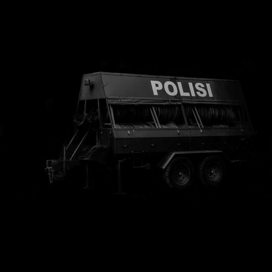 Police barb wire container BW Barb Wire Fence Black Background Demonstration No People Police Police Force Police Vehicle Polisi  Polisi Indonesia Transportation