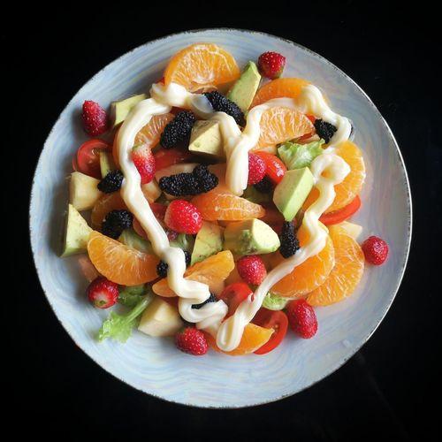 friut salad Black Background Fruit Dessert Studio Shot SLICE Pomegranate Close-up Sweet Food Food And Drink