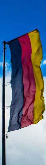Black Red Gold Blue Blue Sky Day Flag Flag In The Sky Flag In The Wind Flags In The Wind  German Flag Germany Low Angle View No People Outdoor Photography Outdoor Pictures Outdoors Outdoors Photograpghy  Outdoors❤ Patriotism Pride Schwarz Rot Gold Sky