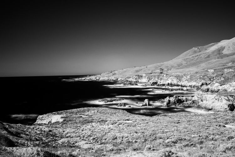 California Coast California Dreamin Beauty In Nature Blackandwhite Blackandwhite Photography Clear Sky Day Landscape Long Exposure Nature No People Outdoors Scenics Sea Sky Tranquil Scene Tranquility Water