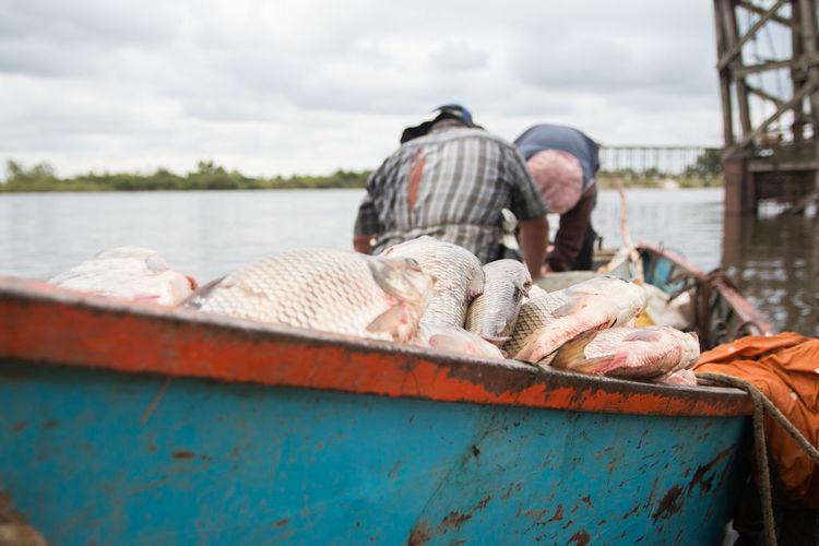 Fishermen and boat full of fish