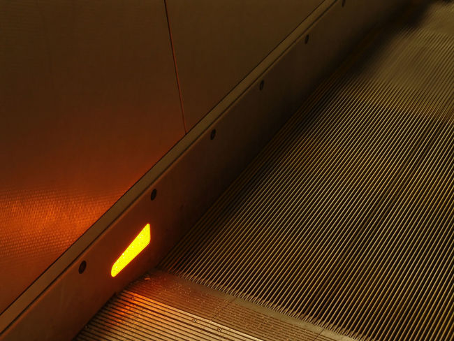 Ceiling Close-up Escalator Glowing High Angle View Illuminated Indoors  Light - Natural Phenomenon Lighting Equipment Metal Nature No People Orange Color Pattern Sunlight Technology Textured  Wall - Building Feature