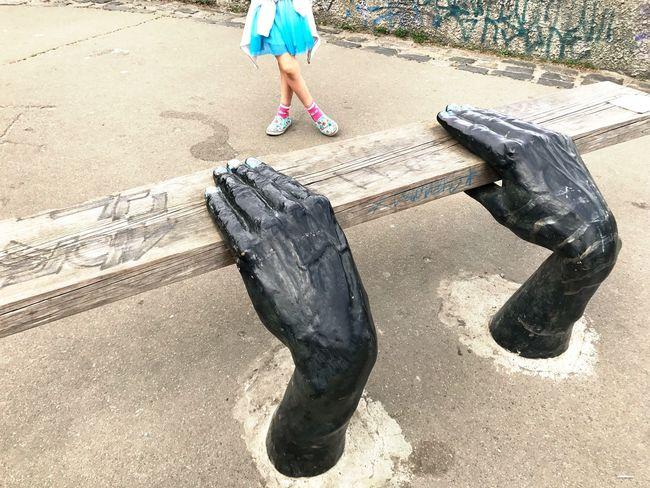 Low Section Human Leg One Person Day Outdoors Human Body Part Bench Hands Art Art Is Everywhere ArtWork Art Object Streetart Lifestyles Kiev Kiev Ukraine пейзажная аллея