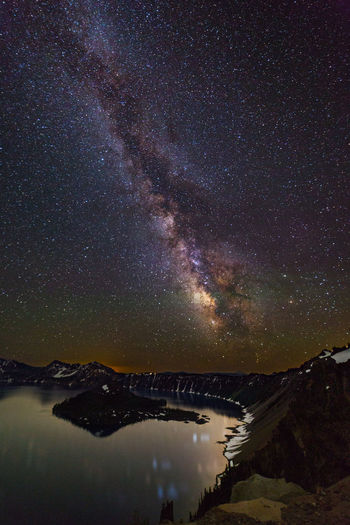 Scenic view of lake by mountains against star field at night