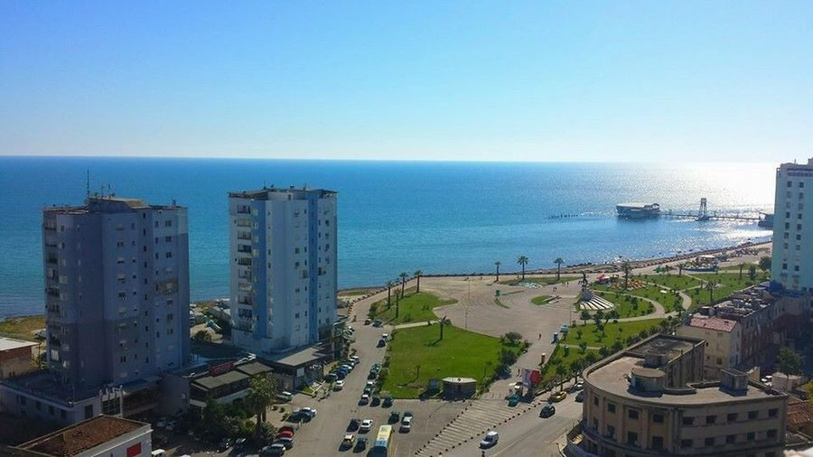 Durres Albania Sea Horizon Over Water Water Clear Sky Built Structure High Angle View Architecture Building Exterior Outdoors Day Sky Nature City Cityscape No People Beauty In Nature