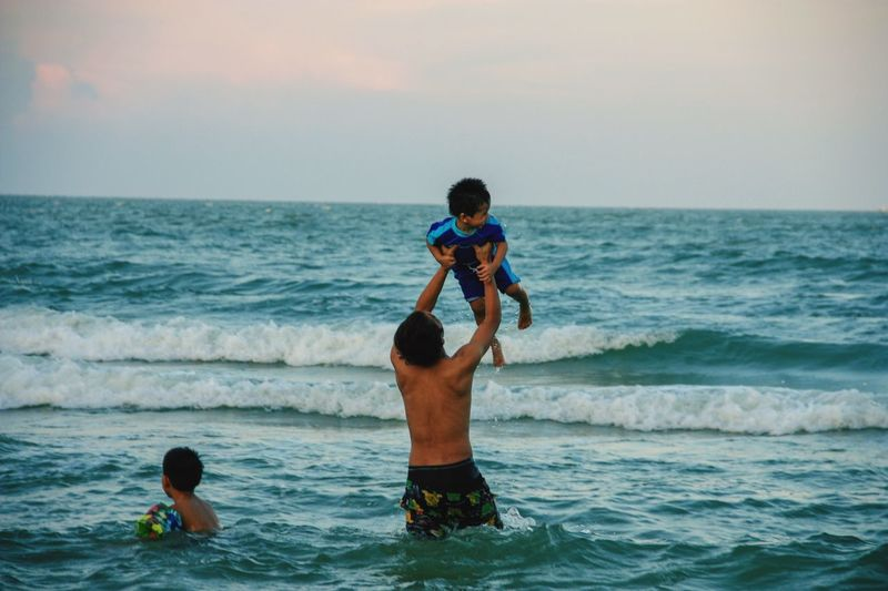 My child Sea Water Sky Child Leisure Activity Horizon Over Water Horizon Beach Family Boys Motion Wave Lifestyles Males  Outdoors Nature