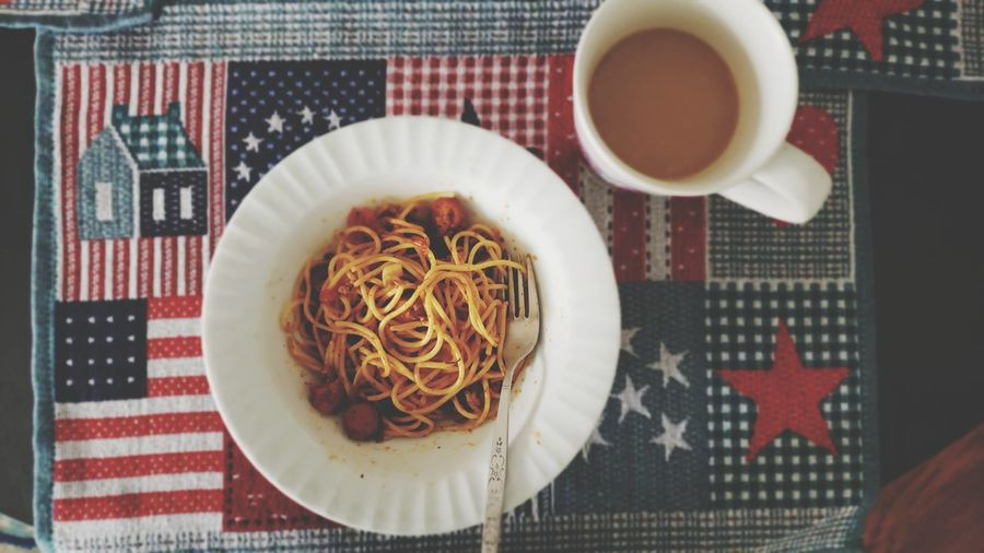 Eating breakfast before go to work. Happy Alone Alone Not Lonely Morning Breakfast🌞☀️🍀 Coffee Lover Spaghetti Table Coffee - Drink EyeEmNewHere Inner Power Visual Creativity