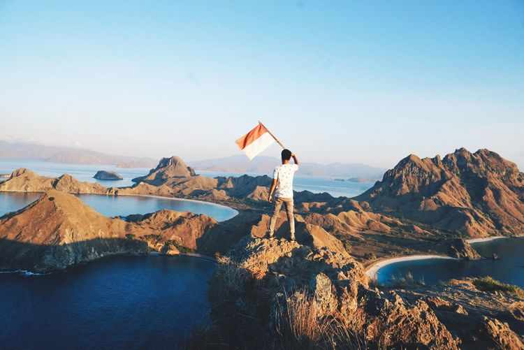 Rear view of man holding flag while standing on rock against clear sky