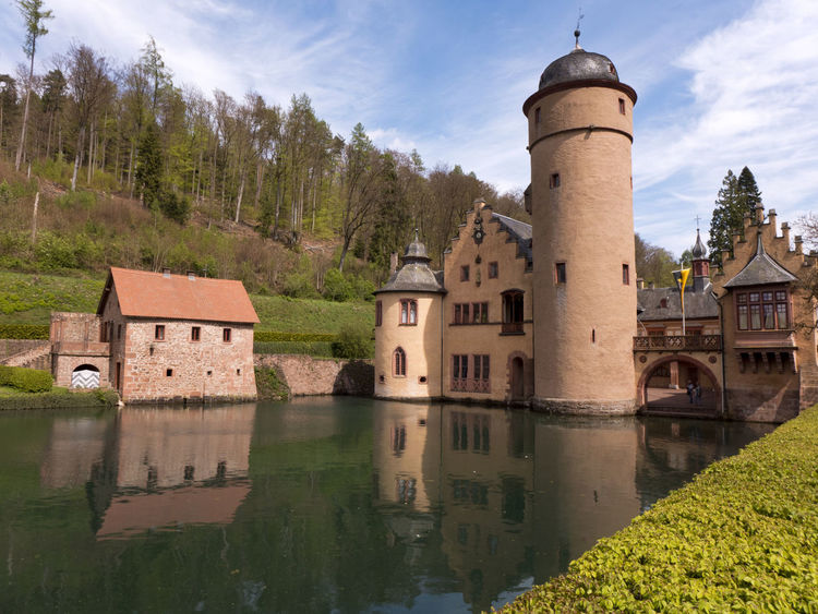 Bavaria Castle Historical Building Mespelbrunn Reflection Romantic Trees View Architecture Building Exterior Built Structure Forest History House Lake Medieval Reflection Reflections In The Water Sky Spessart  Spire  Stronghold Tower Water Water Castle