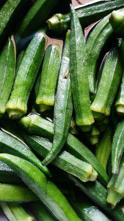 Ladiesfinger Vegetable Green Color Healthy Eating Freshness