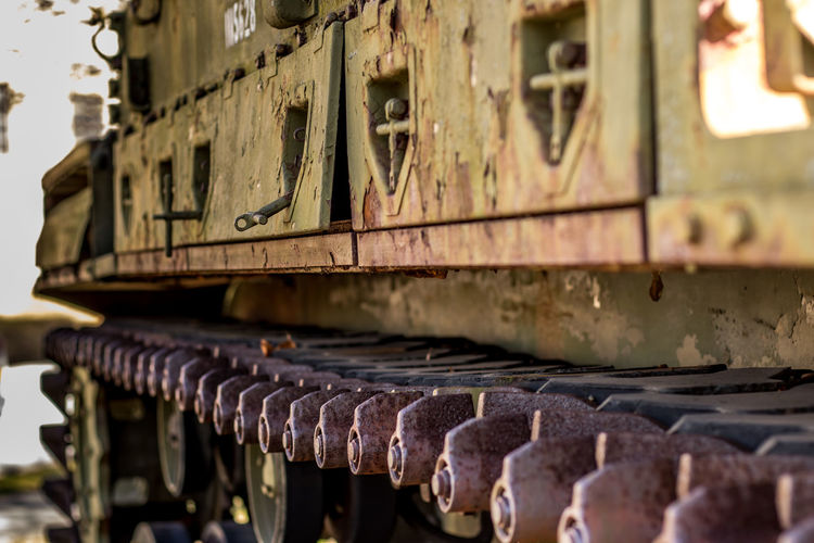 Close-Up Of Rusty Continuous Track Of Armored Tank