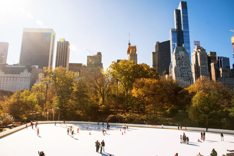 Autumn In New York City Fall In New York City Manhattan New York New York City Architecture Building Exterior Built Structure City Cityscape Clear Sky Cold Temperature Day Ice Rink Nature No People Outdoors Sky Skyscraper Snow Sunlight Travel Destinations Tree Urban Skyline Winter Winter Sport