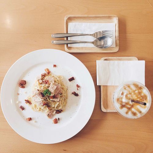 Food And Drink Plate Table Indoors  Food Serving Size Directly Above Coffee - Drink Still Life Drink Ready-to-eat Refreshment High Angle View Freshness Coffee Cup Indulgence No People Fork Breakfast spaghetti