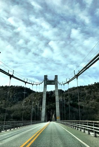 Connection Sky Cloud - Sky The Way Forward Road Day Transportation No People Outdoors Built Structure Architecture Bridge - Man Made Structure Suspension Bridge Tree Norway Bridge Driving