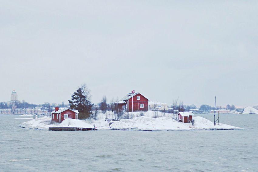 Little islands on our way to Suomenlinna Suomenlinna Finland Snow