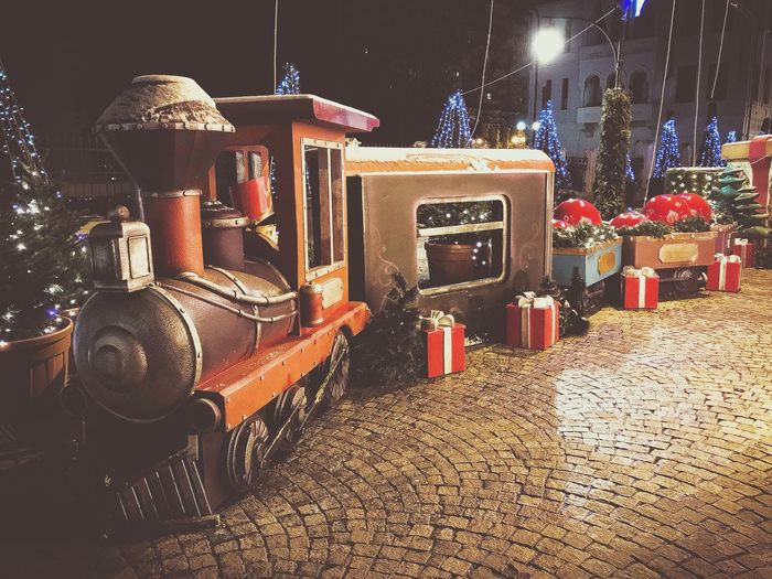 Waiting for Santa's train 🚂 Train Christmas Themes Night Illuminated Market Outdoors No People Food