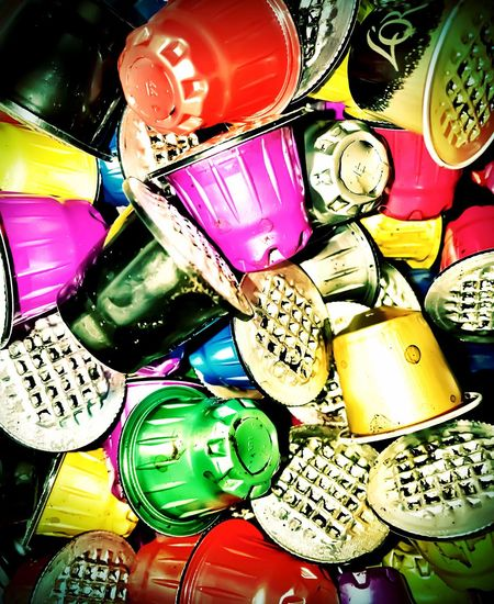 Multi Colored Indoors  Backgrounds Close-up Day No People Abundance Variation Large Group Of Objects Coffe Capsules Recycling
