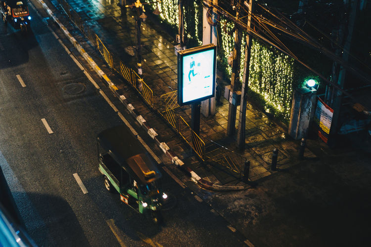 City Mode Of Transportation Transportation Night Communication Street Road Land Vehicle Architecture Illuminated No People Car Motor Vehicle Technology High Angle View Symbol Sign Outdoors Built Structure