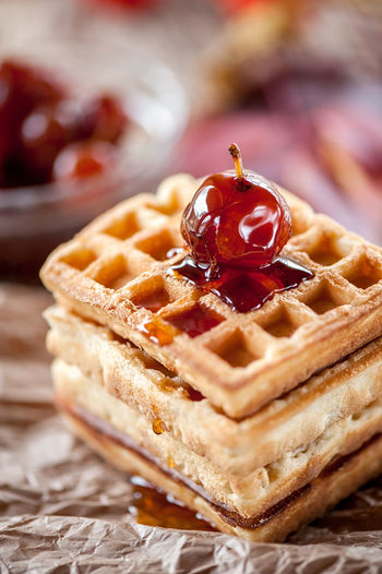 Homemade waffles with Apple jam on a wooden table. Close up. Copy space. Food Food And Drink Freshness Sweet Food Ready-to-eat Fruit Dessert Indoors  Close-up Still Life Focus On Foreground No People Selective Focus Sweet Bread Meal Baked Breakfast Temptation Snack вафли Вафелька яблочное вар