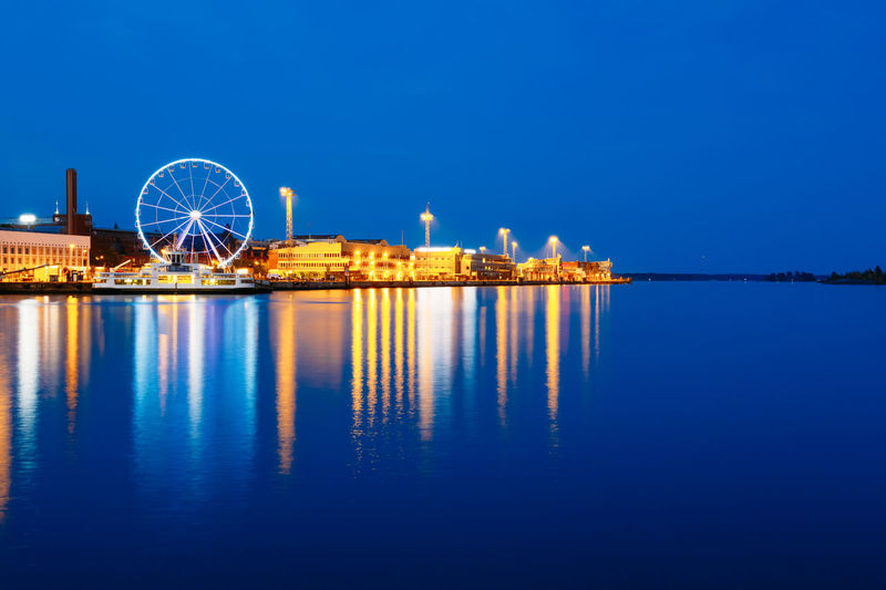 Night Scenery Panoramic View Of Embankment With Ferris Wheel In Helsinki, Finland Architecture City Cityscape Famous Finland Harbor Light Panorama Place Scandinavia Travel Background Buiding Capital Destination Europe Evening Landscape Nobody Outdoor Street Summer Tourism Town Urban 10 HUAWEI Photo Award: After Dark My Best Travel Photo
