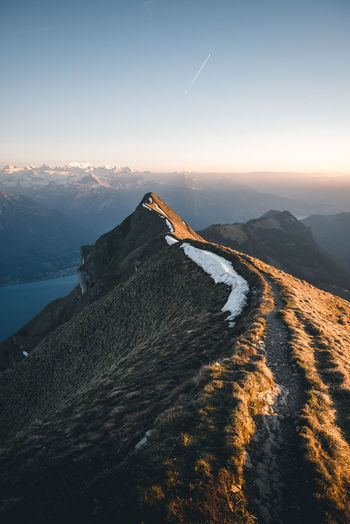 Hiking Sunset_collection The Week on EyeEm Augstmatthorn Beauty In Nature Brienz Cold Temperature Day Landscape Mountain Mountain Range Nature No People Outdoors Ridge Scenics Sky Spring Sunset Switzerland Tranquil Scene Tranquility Warm Light Water The Great Outdoors - 2018 EyeEm Awards