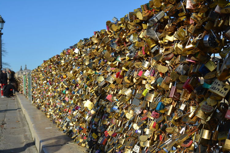 lock bridge paris Locks Of Love Bridge Love ♥ Locks Lockbridgeparis Lockbridge  Locks Of Love Large Group Of Objects Love Lock City Outdoors Architecture