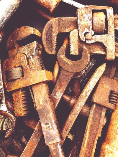 Rusty Tools Full Frame No People Backgrounds Indoors  Close-up Pattern Still Life Metal