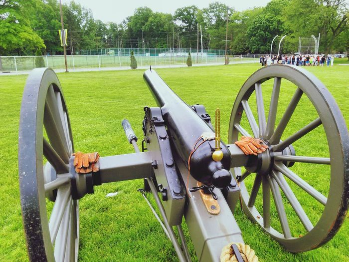 View of cannon in park