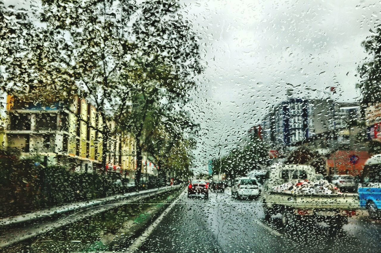 car, rain, weather, wet, drop, land vehicle, raindrop, transportation, rainy season, water, mode of transport, road, windshield, car interior, the way forward, street, tree, window, architecture, day, no people, sky, torrential rain, built structure, nature, snowing, outdoors, city