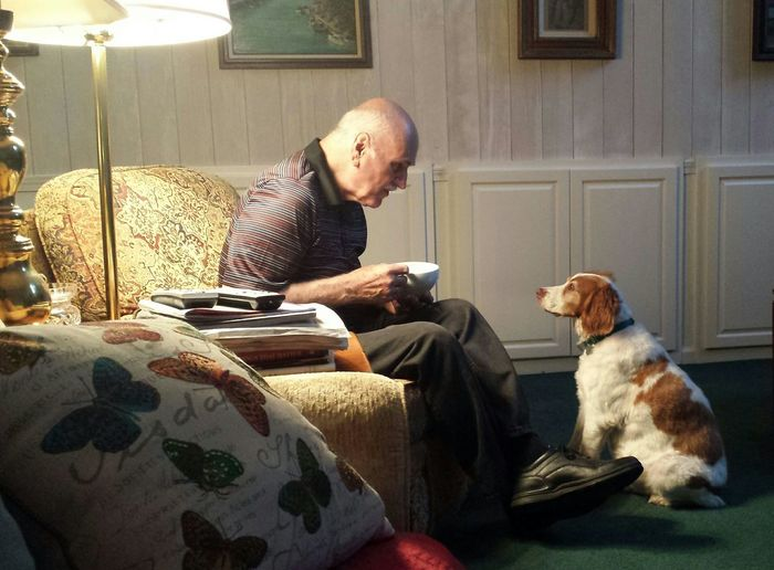 Grumps and His Dog . Enjoying Life Brittany Spaniel Quiet Moments
