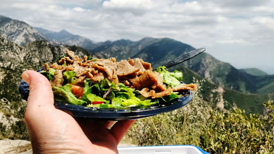 Food In Plate Against Mountains