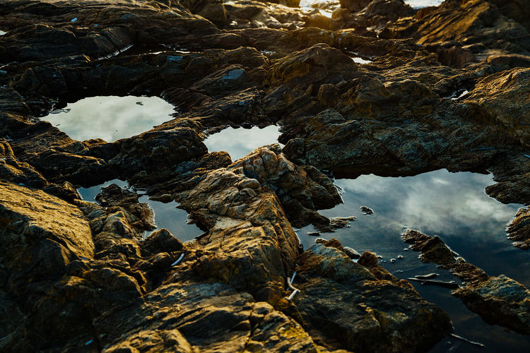 High angle view of water amidst rocks