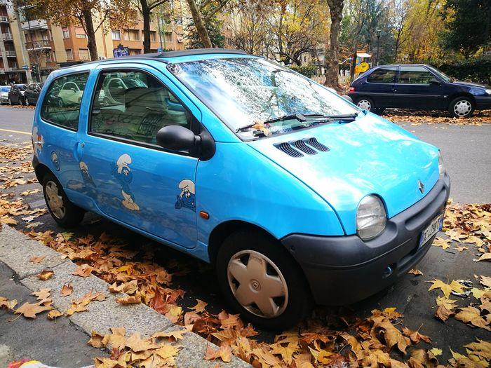 Smurf car in autumn Car TWINGO Twingofanclub Renault Renaulttwingo Twingocar Puffo Puffi Autumn🍁🍁🍁 Autunnoincittà Autumn Autumnleaves Autunno  Smurfcar Smurf Autumn 2017