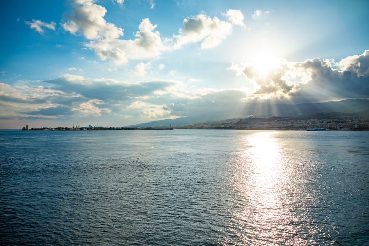Messina Italy Sicily Ferry Sea Sky Water Scenics - Nature Beauty In Nature Cloud - Sky Tranquility Tranquil Scene Waterfront Sunlight No People Nature Reflection Day Idyllic Outdoors Non-urban Scene Sunbeam Seascape