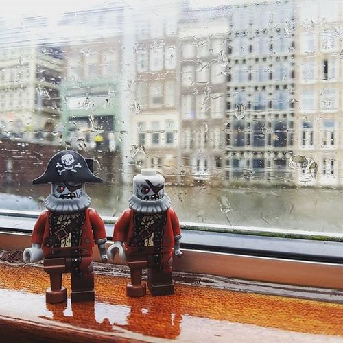 """Arrrr, all those year captaining on the seas has turned us to zombies. Now we only sail the waters via cruise ship!' LEGO Legophotography Legozombiepirate Graylinecruiseamsterdam Iamsterdam"