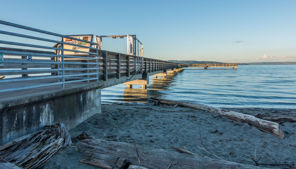 Beneath the pier at Dash Point, Washington. Pacific Northwest  Architecture Bridge - Man Made Structure Building Exterior Built Structure Dash Point Day Nature No People Outdoors Railing Sea Sky Water