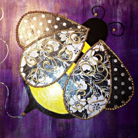 new piece- B Bee Painting Hanging Out Art