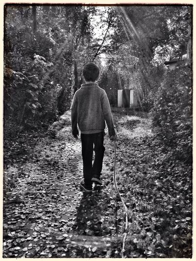 Rear View One Person Nature Forest Outdoors Blackandwhite Black And White Photography Boy