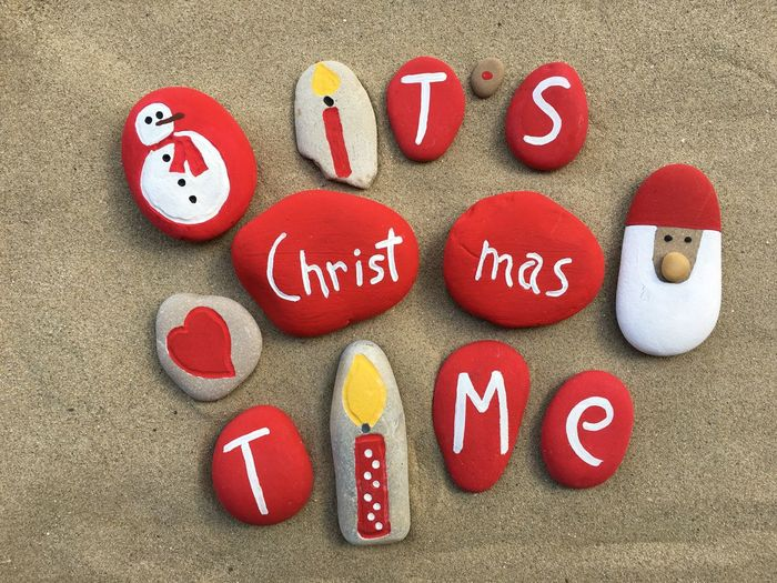 Directly above shot of christmas decoration made from pebbles