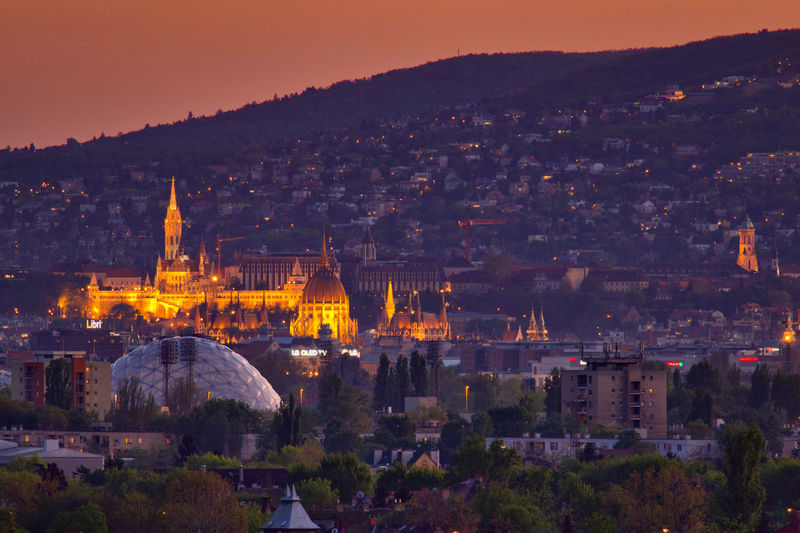 Hungary - budapest at night with parlament and the matthias church