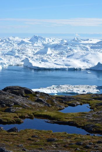 Ilulissat, Greenland, July | UNESCO world heritage site | impressions of Jakobshavn | Disko Bay Kangia Icefjord | huge icebergs in the blue sea on a sunny day | climate change - global warming Greenland Travel Destinations UNESCO World Heritage Site Iceberg Icebergs Ice Sea White Nature No People Day Scenics - Nature Outdoors Water Climate Change Global Warming Melting Glacier Cold Temperature Tranquility Tranquil Scene Environment Non-urban Scene Snowcapped Mountain Wanderlust Photooftheday