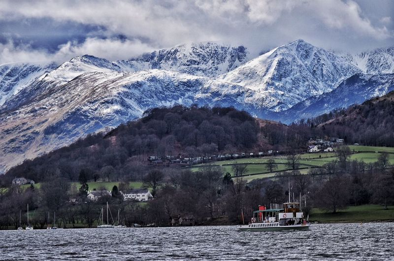 Ullswater steamer, passing the snow covered hills. Taking Photos Relaxing Beauty In Nature Always Taking Photos EyeEm Nature Lover Malephotographerofthemonth The Lake District  Countryside Landscape Ullswater Tranquility Clouds And Sky Boats⛵️