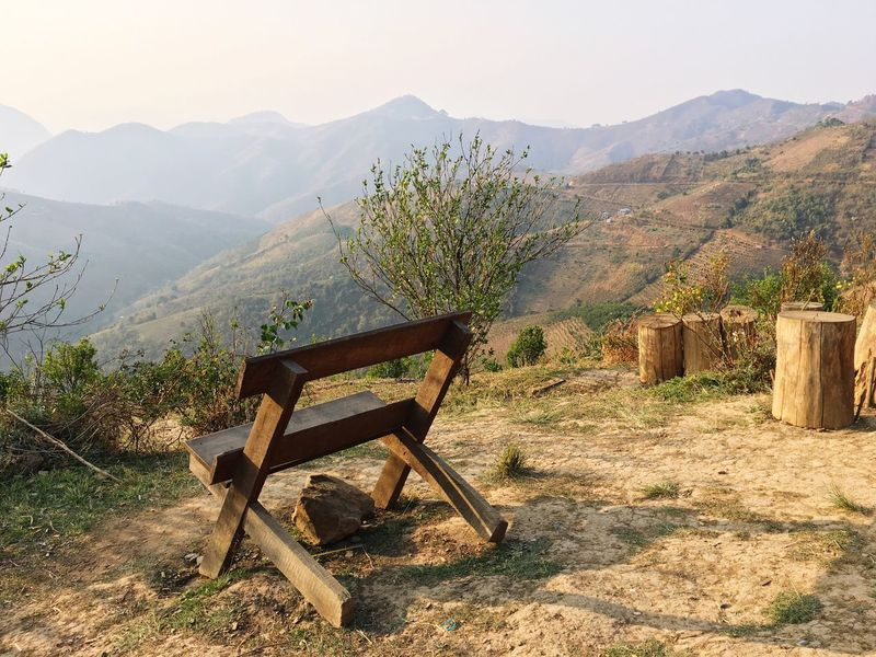 Mountain Landscape Mountain Range Nature No People Tranquility Beauty In Nature Bench Myanmar Nature Natural Beauty