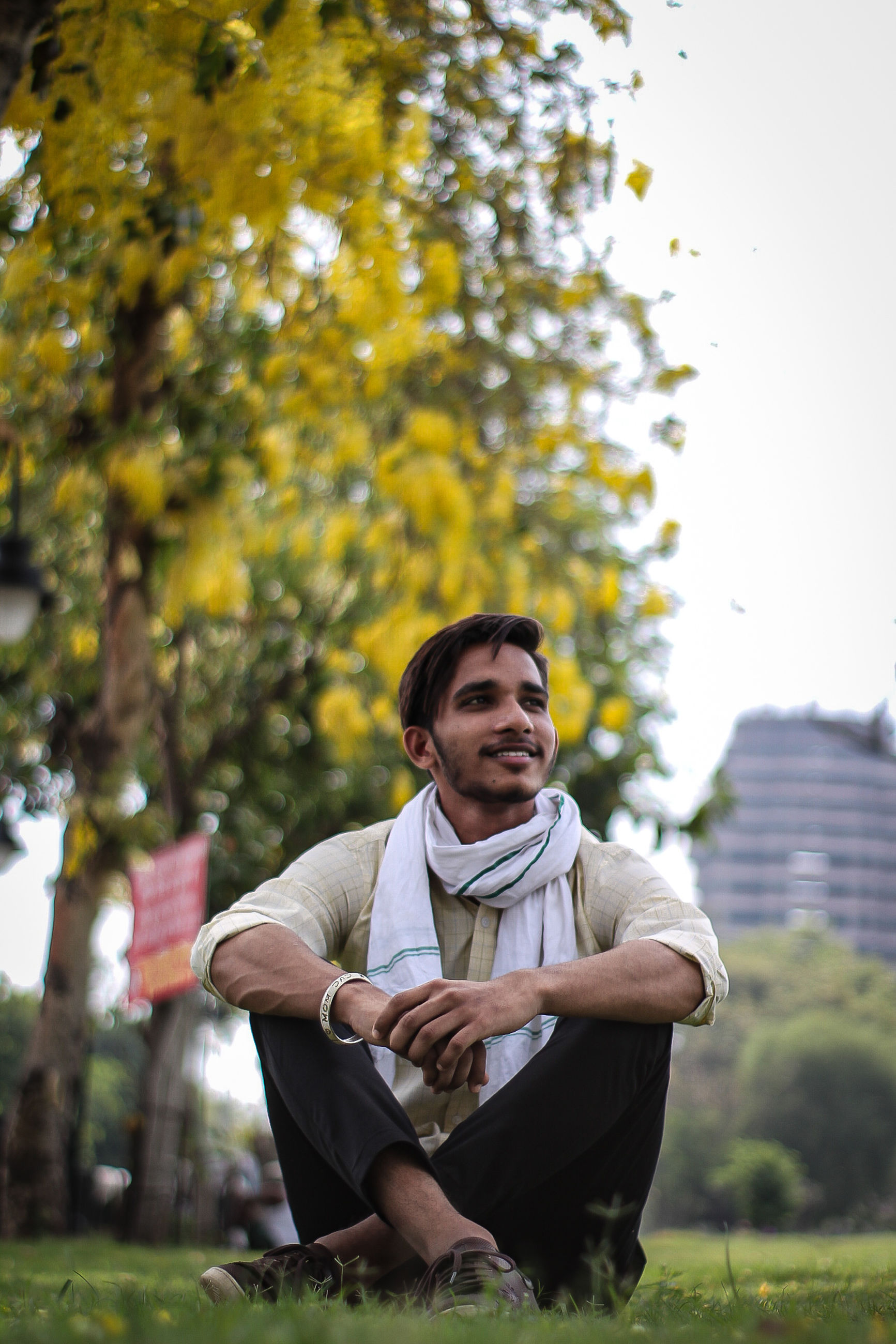 one person, adult, plant, men, nature, sitting, relaxation, tree, full length, grass, lifestyles, young adult, autumn, leisure activity, looking, day, outdoors, casual clothing, emotion, person, smiling, contemplation, front view, clothing, copy space, happiness, park, portrait, park - man made space, looking away