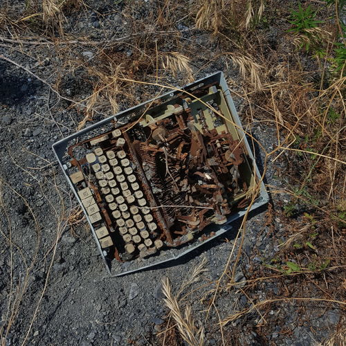 Typewriter High Angle View Close-up Deterioration Rusty Abandoned Damaged Junkyard Broken Ruined Weathered Bad Condition